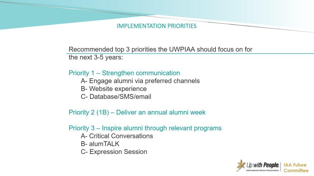 Top 3 UWPIAA priorities for the next 3 to 5 years