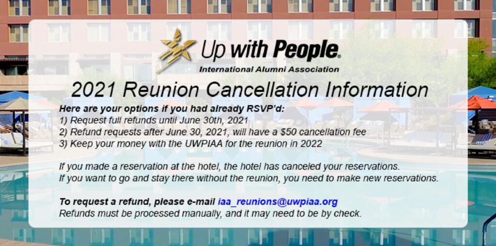 Reunion Cancellation Information