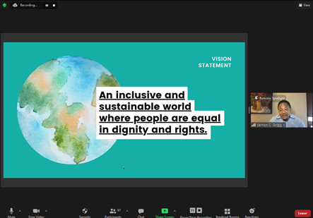 """Vernon C. Grigg III Presentation at VEAM 2021 """"An inclusive and sustainable world where people are equal in dignity and rights."""""""